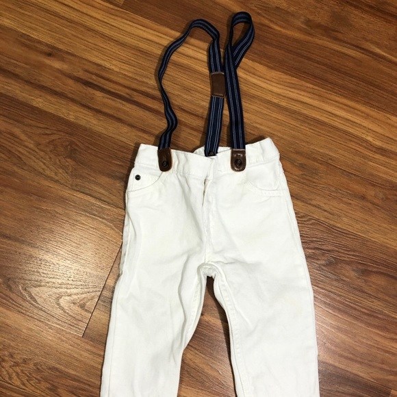 Carter's Boys 18M white and blue jean overalls